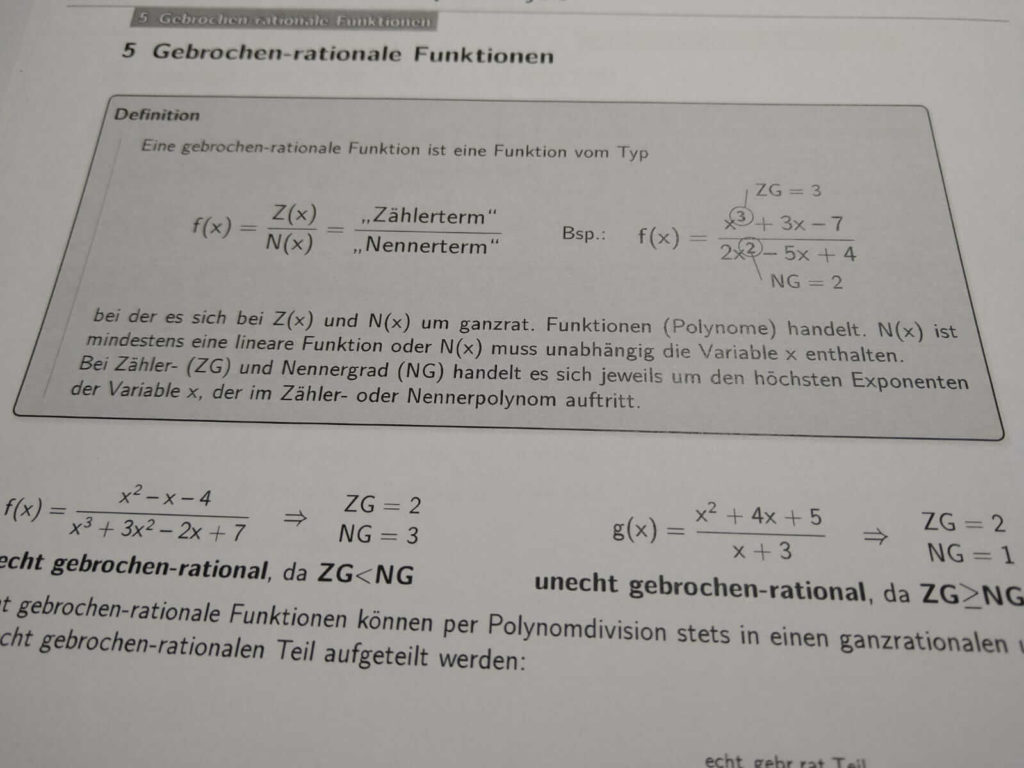 Definition gebrochen rationaler Funktionen lern.de