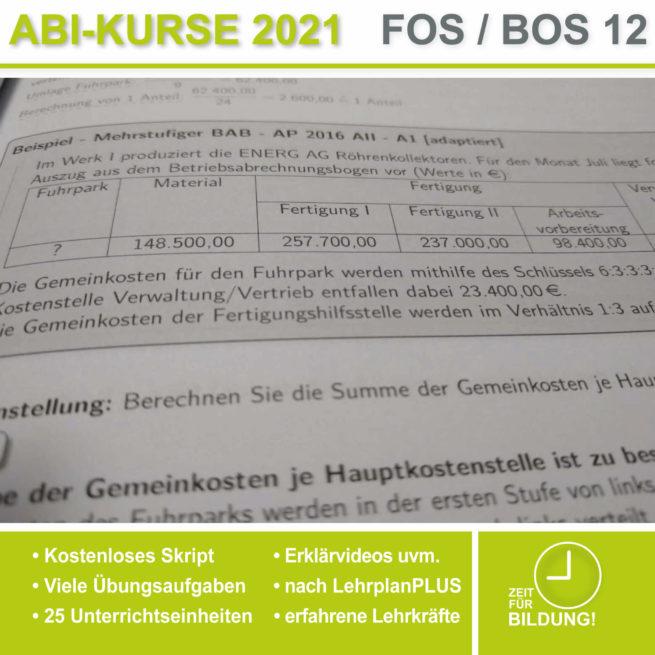Abi 2021 FOS 12 BwR | IBV Betriebsabrechnungsbogen lern.de