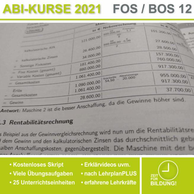 Abi 2021 FOS 12 BwR | IBV Investitionstheorie lern.de