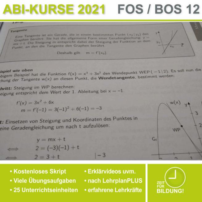 Abi 2021 FOS 12 Mathe Tangenten