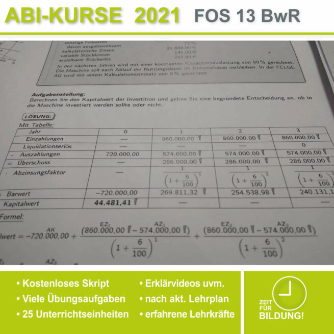 Abi-Vorbereitung 2021 FOS 13 BwR Kapitalwertmethode bei lern.de