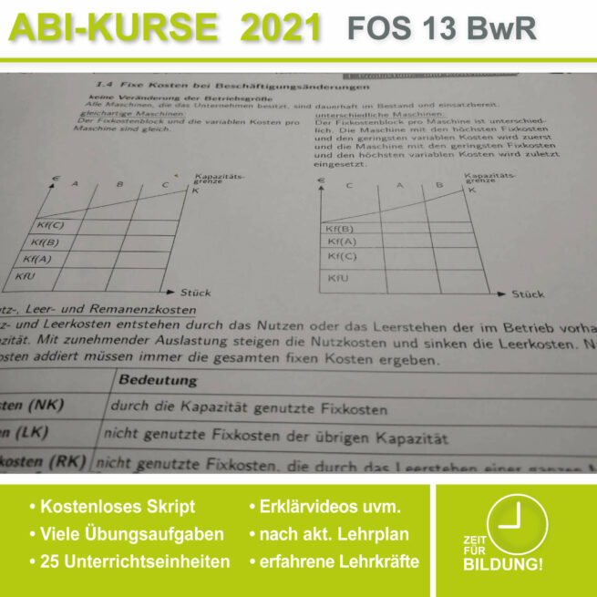 Abi-Vorbereitung 2021 FOS 13 BwR Kostentheorie bei lern.de