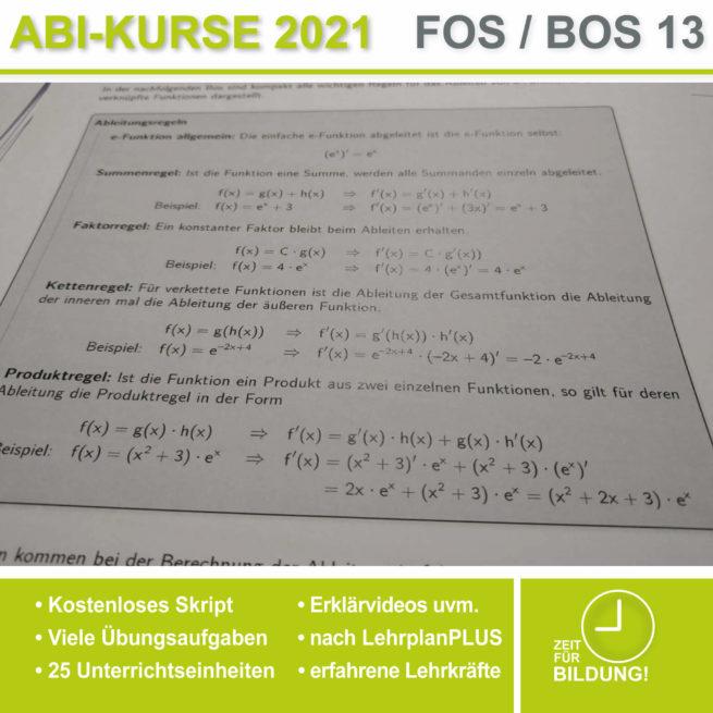 Abi 2021 FOS 13 Mathe Ableitungsregeln