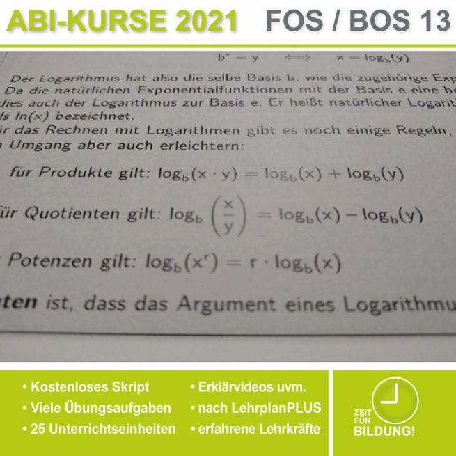 Abi 2021 FOS 13 Mathe Logarithmen