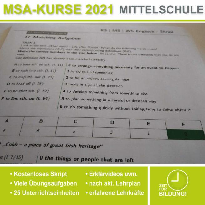 Mittelschule Englisch Matching lern.de