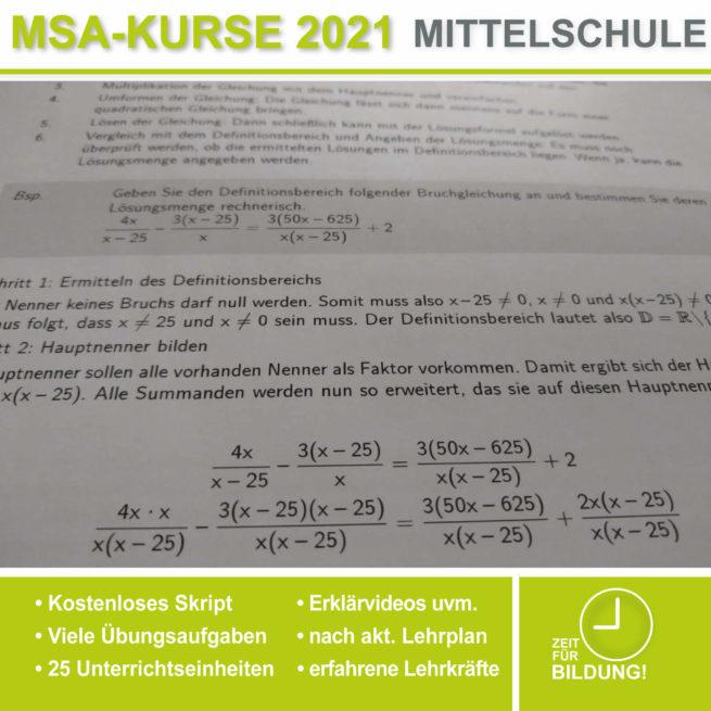 Abschlussprüfung Mittelschule M10 Bruchgleichungen bei lern.de