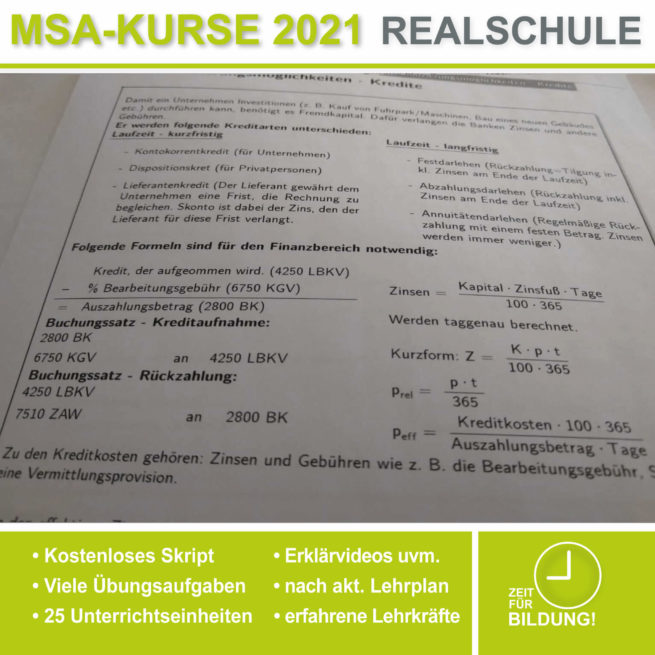Vorbereitung Abschlussprüfung Realschule BwR Kredite bei lern.de