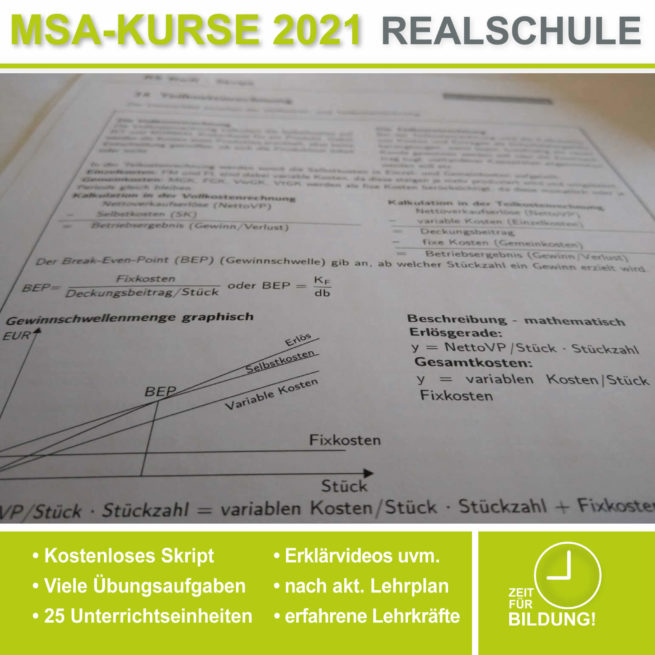 Vorbereitung Abschlussprüfung Realschule BwR Teilkostenrechnung bei lern.de
