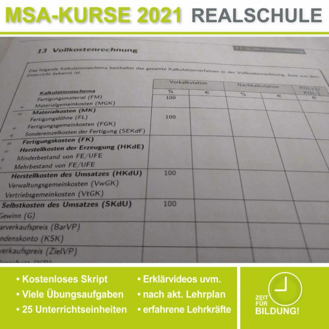 Vorbereitung Abschlussprüfung Realschule BwR Vollkostenrechnung bei lern.de