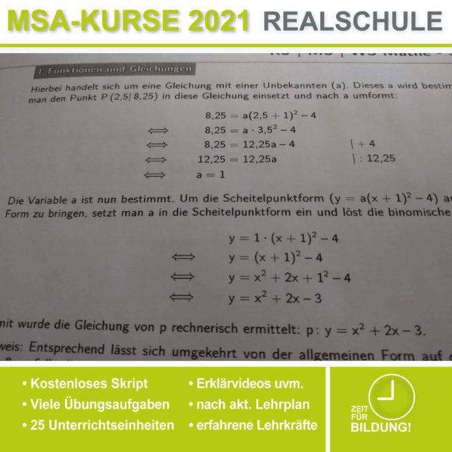 Abschlussprüfung Realschule Parabelgleichungen bei lern.de