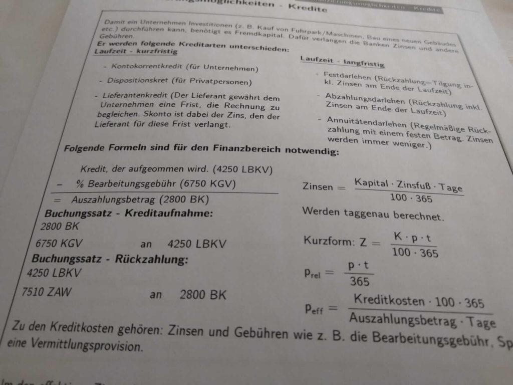 Realschule BwR Finanzierungsmöglichkeiten Crashkurs lern.de