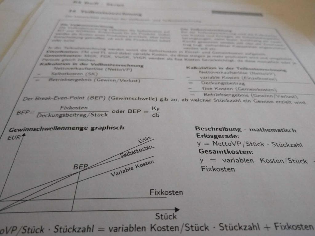 Realschule BwR Teilkostenrechnung Crashkurs lern.de