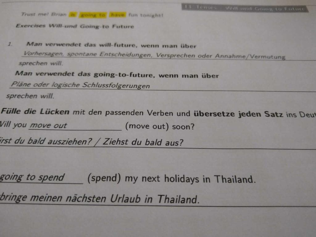 Realschule Englisch Will an Going Crashkurs lern.de