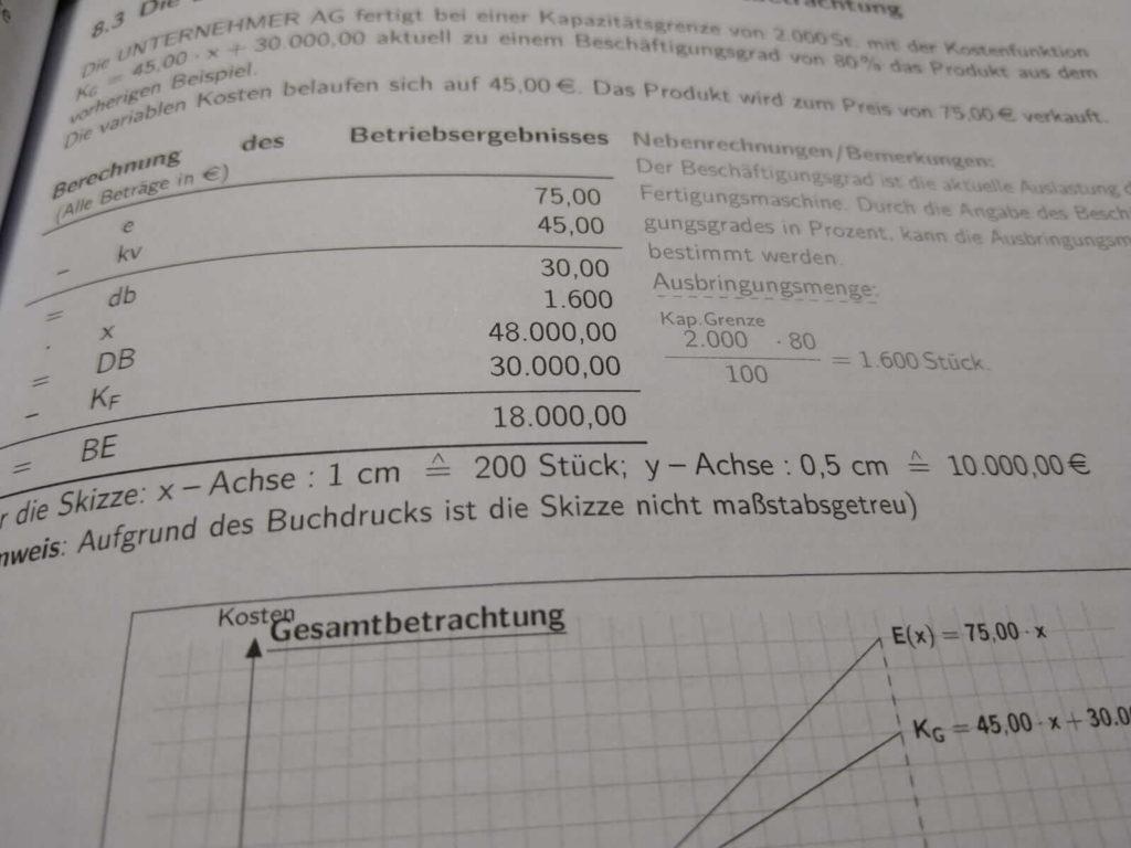 FOS 12 BwR Teilkostenrechnung