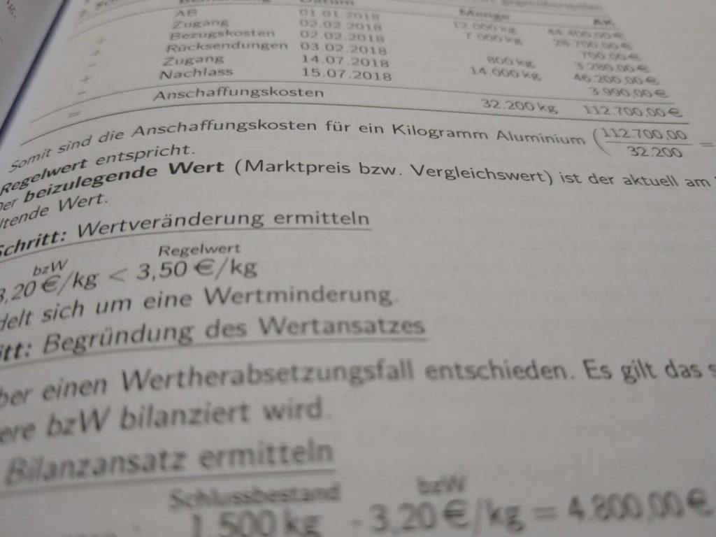 FOS 12 BwR Bewertung von Vorräten