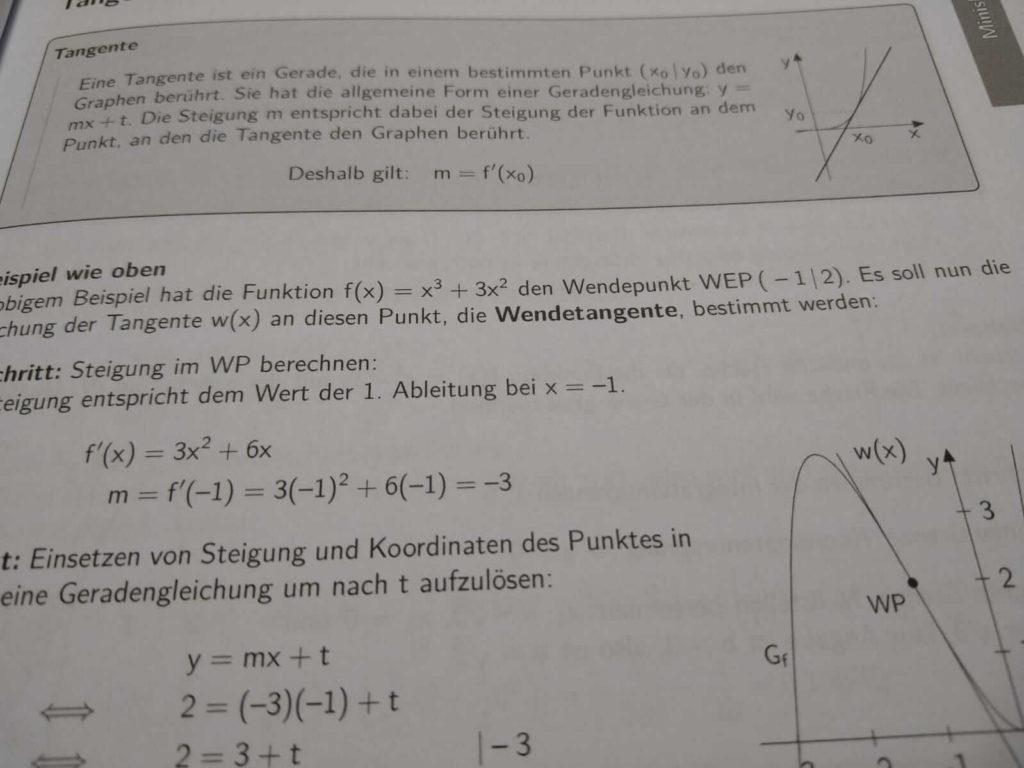 Tangenten FOS 12 Mathematik Nichttechnik