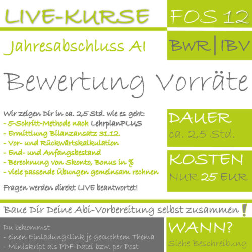 LIVE-EVENT FOS 12 BwR | IBV Bewertung Vorräte lern.de GoDigital