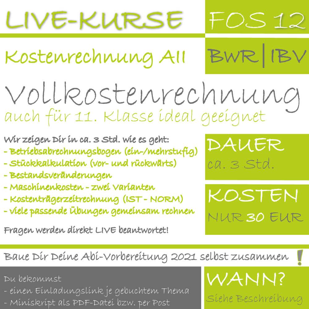 FOS 12 BwR | IBV LIVE-EVENT Vollkostenrechnung lern.de
