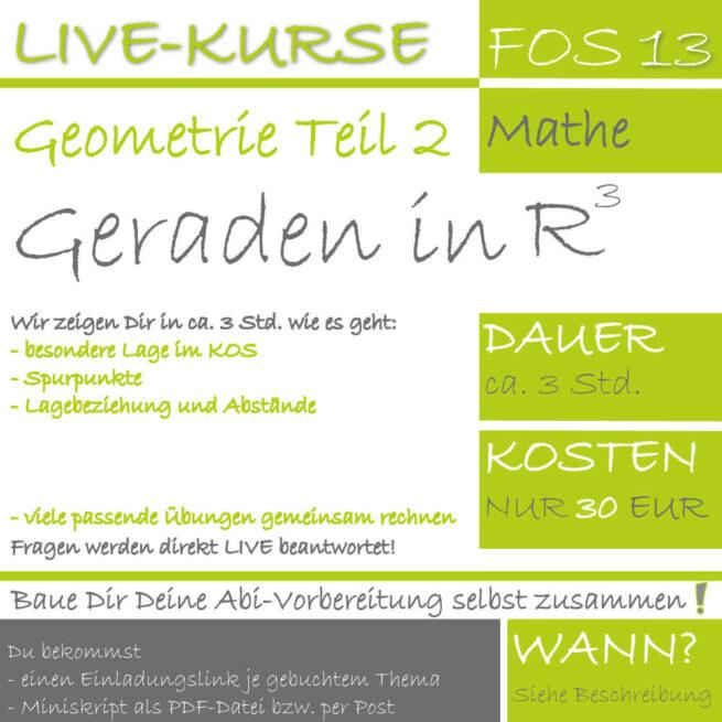 FOS 13 Mathe LIVE-EVENT Analytische Geometrie Teil 2