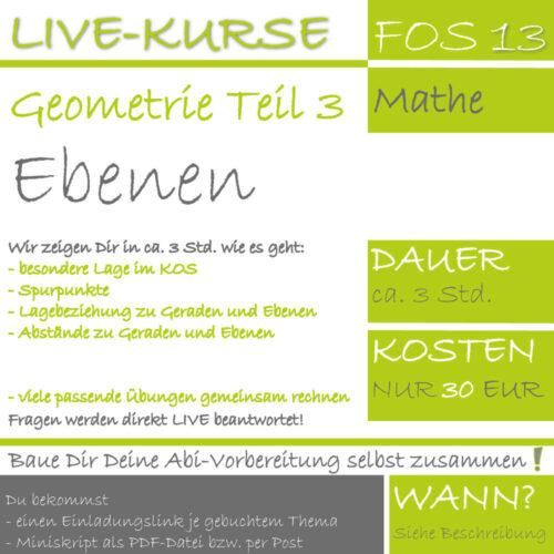 FOS 13 Mathe LIVE-EVENT Analytische Geometrie Teil 3