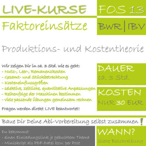 LIVE-EVENT FOS 13 BwR | IBV Produktions- und Kostentheorie lern.de GoDigital