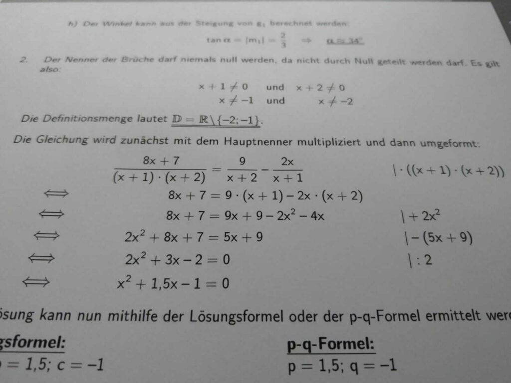 Mittlerer Schulabschluss Bruchgleichungen lern.de