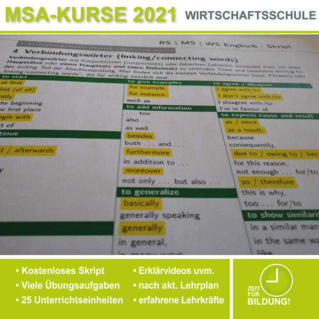 Wirtschschaftsschule Englisch Verbindungswörter lern.de