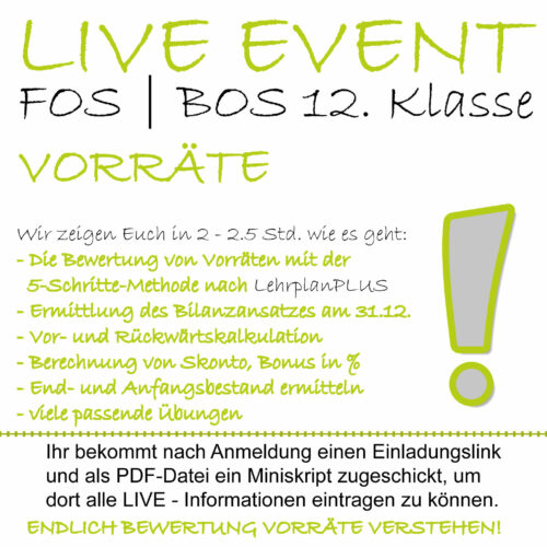 LIVE-EVENT FOS 12 BwR   IBV Bewertung Vorräte lern.de GoDigital