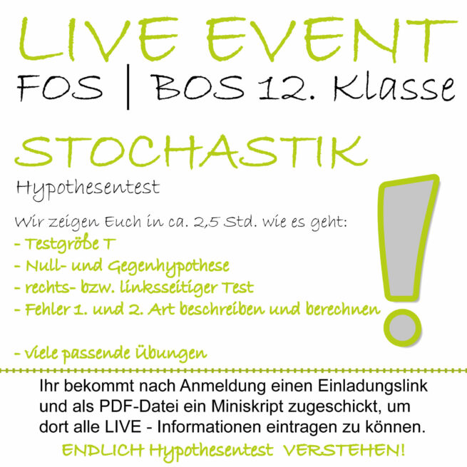FOS 12 Mathe LIVE-EVENT Hypothesentest lern.de