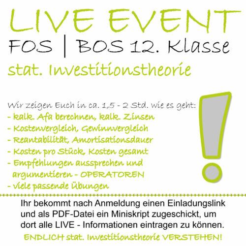 LIVE-EVENT FOS 12 BwR | IBV Investitionsrechnung lern.de GoDigital