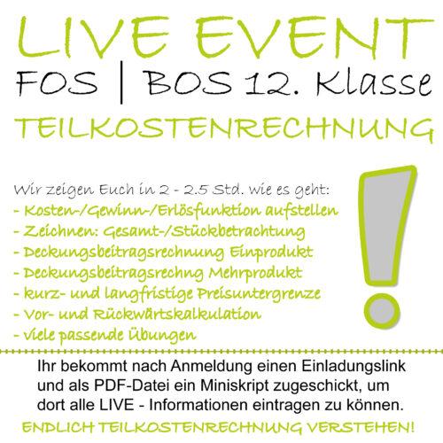 LIVE-EVENT FOS 12 BwR Teilkostenrechnung lern.de GoDigital