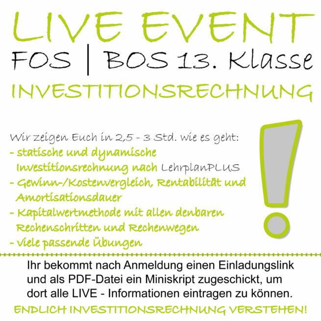 LIVE-EVENT FOS 13 BwR Investitionsverfahren lern.de GoDigital