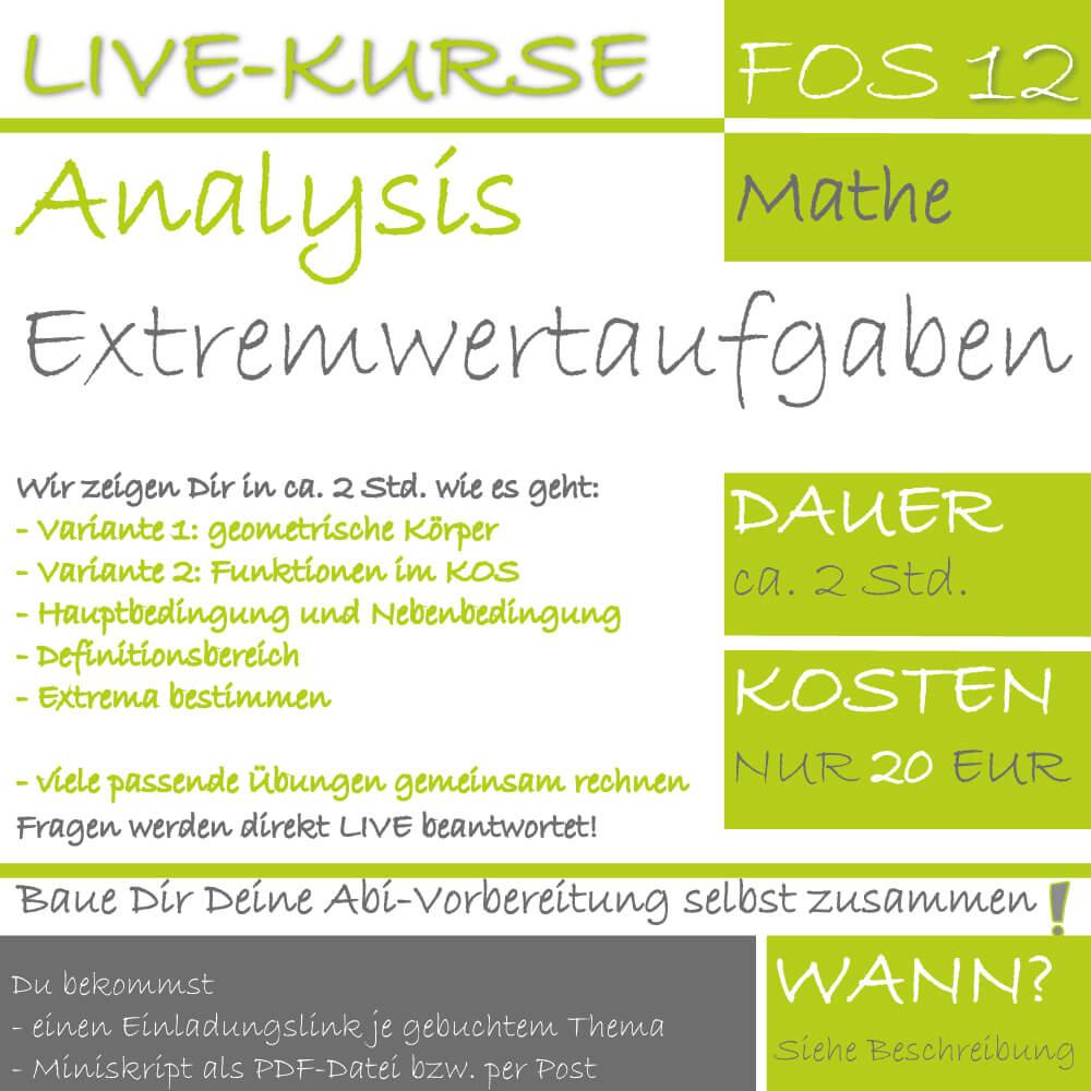 FOS 12 Mathe LIVE-EVENT Extremwertaufgaben lern.de