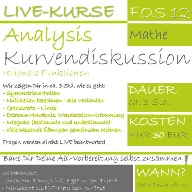 FOS 12 Mathe LIVE-EVENT Kurvendiskussion rationaler Funktionen lern.de