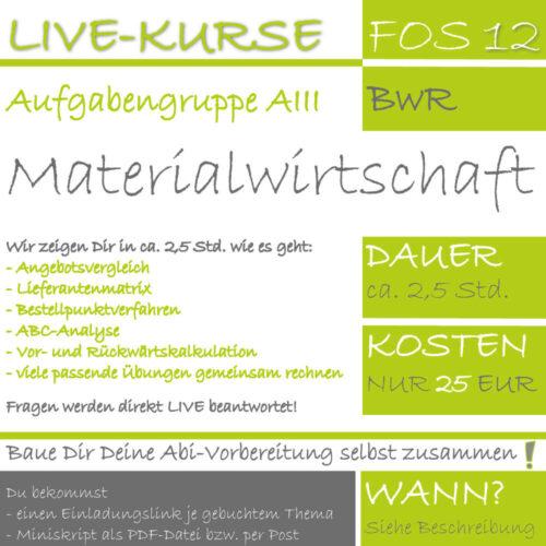 LIVE-KURS FOS 12 BwR Materialwirtschaft lern.de GoDigital