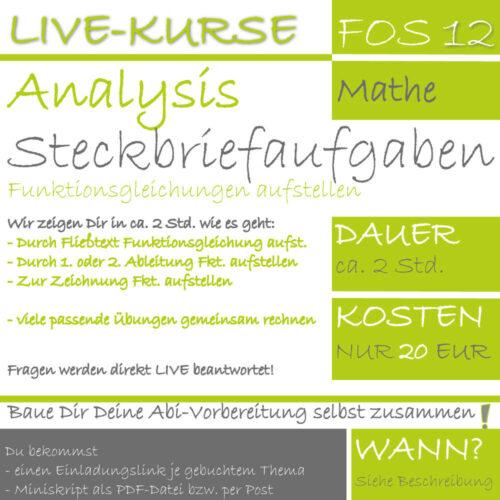 FOS 12 Mathe LIVE-EVENT Steckbriefaufgaben lern.de