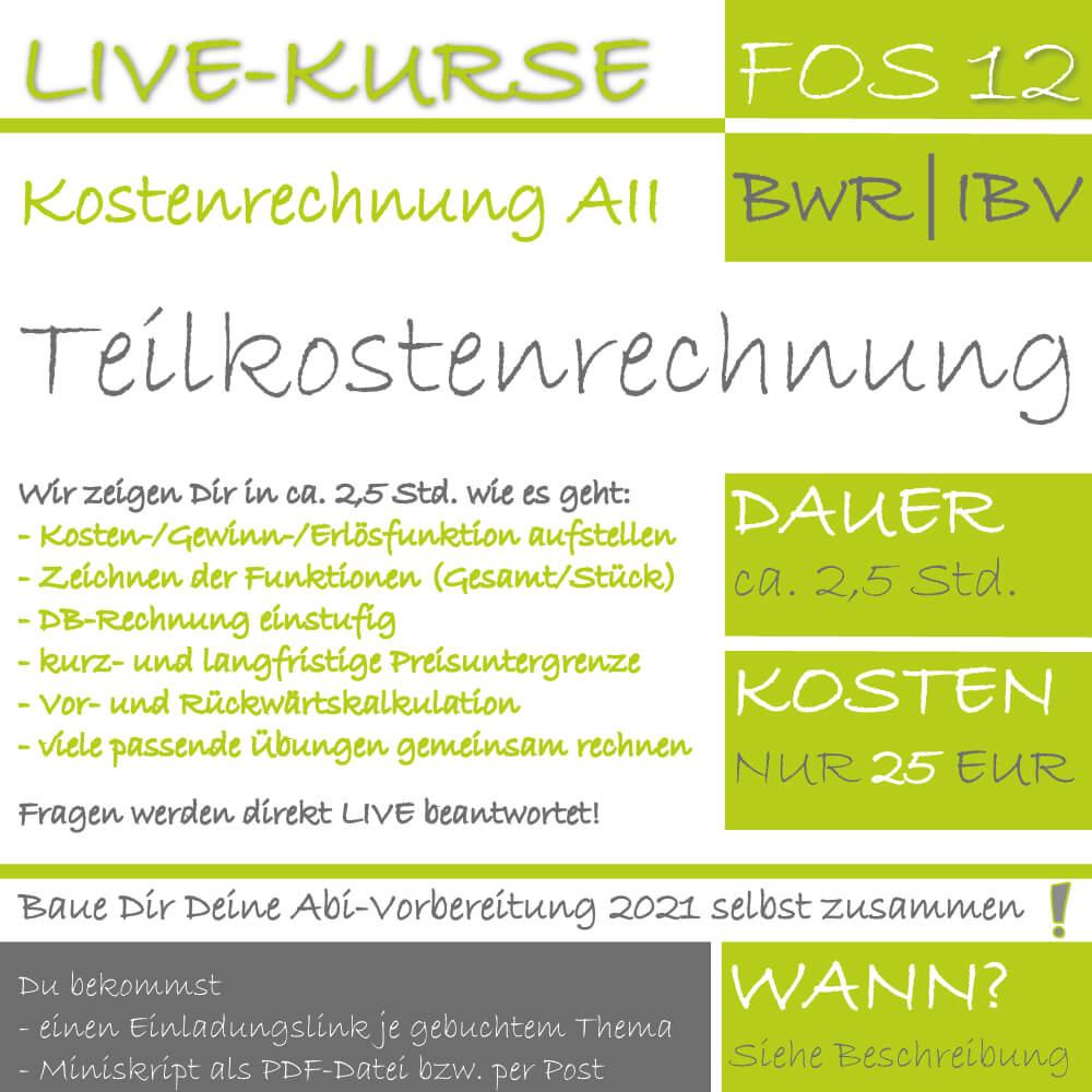 LIVE-KURS FOS 12 BwR Teilkostenrechnung lern.de GoDigital