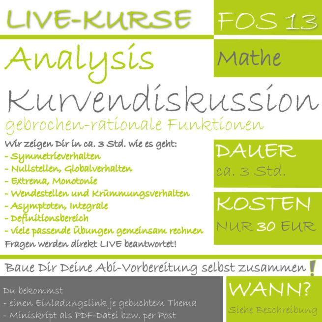 FOS 13 Mathe LIVE-EVENT Kurvendiskussion gebrochen-rationaler Funktionen