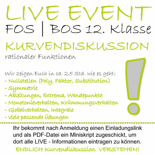FOS 12 Mathe LIVE-EVENT Kurvendiskussion rationaler Funktionen lern.de