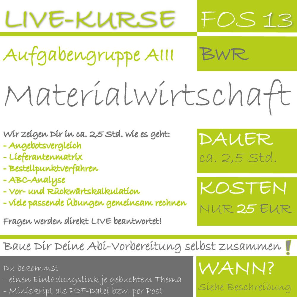 LIVE-KURS FOS 13 BwR Materialwirtschaft lern.de GoDigital