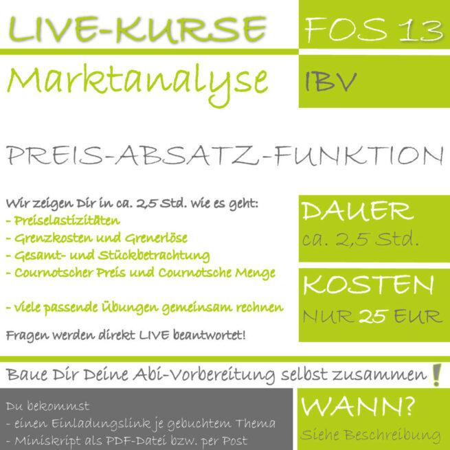 LIVE-KURS FOS 13 IBV Preis-Absatz-Funktion lern.de GoDigital