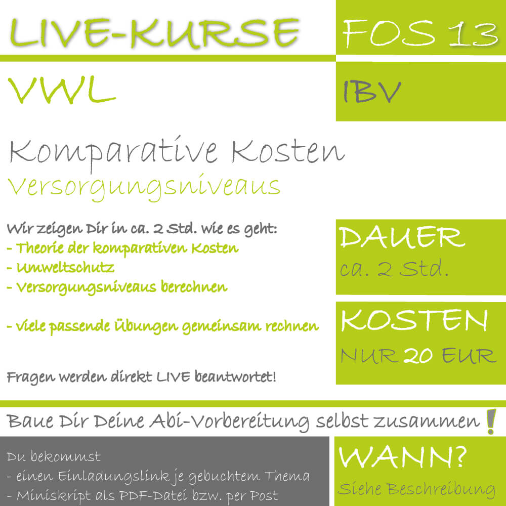 LIVE-KURS FOS 13 IBV komparative Kosten lern.de GoDigital