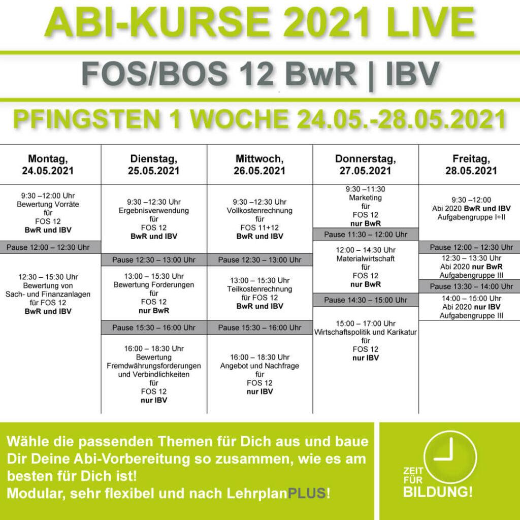 Stundenplan FOS LIVE-KURSE 12 Klasse Bwr | IBV