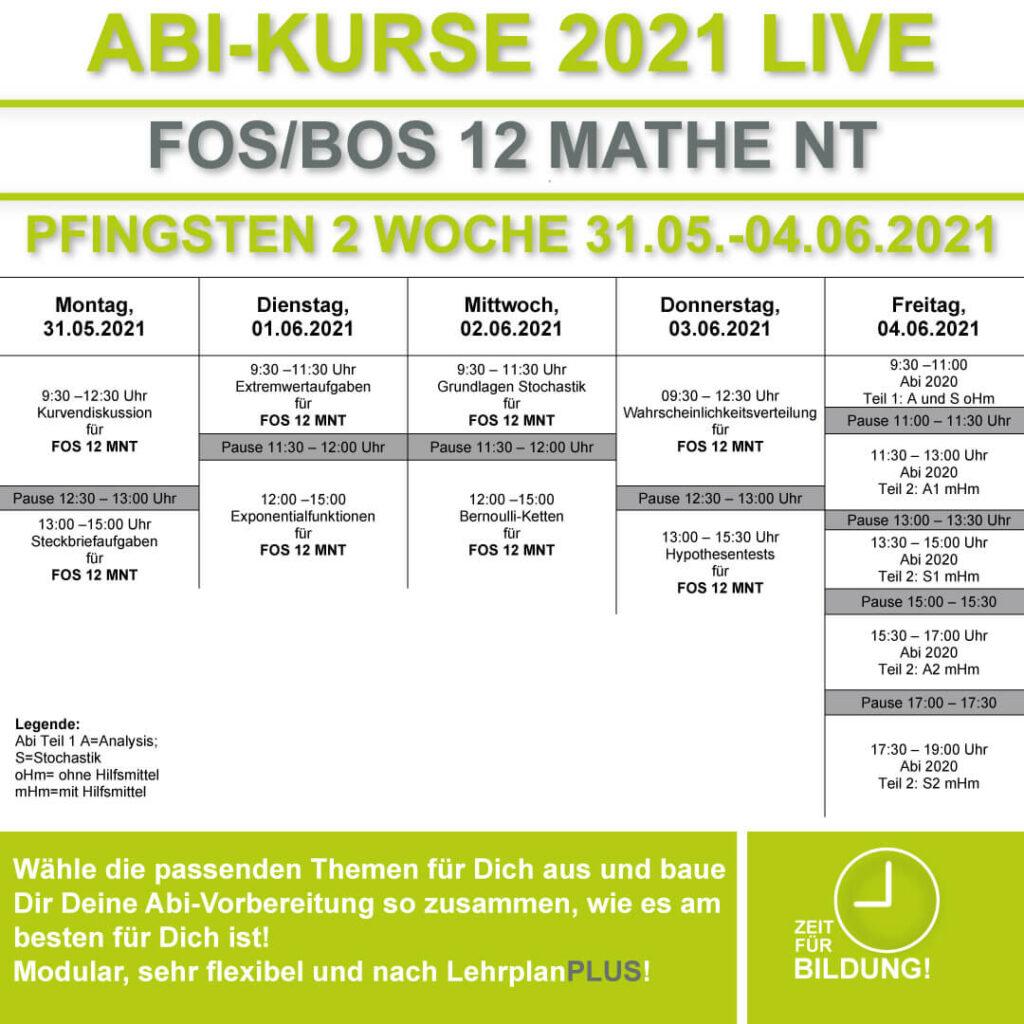 Stundenplan FOS LIVE-KURSE 12 Klasse Mathematik Nichttechnik