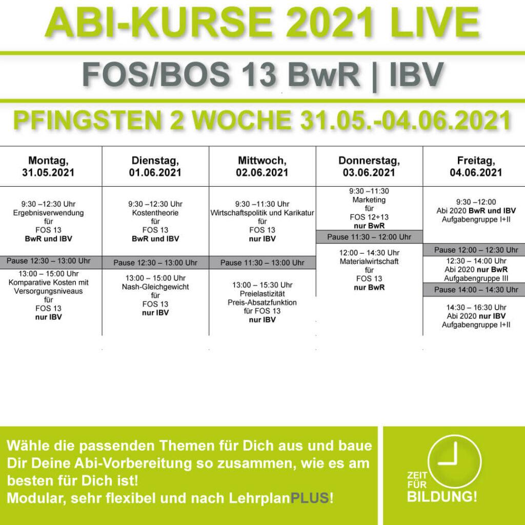 Stundenplan FOS LIVE-KURSE 13 Klasse Bwr | IBV