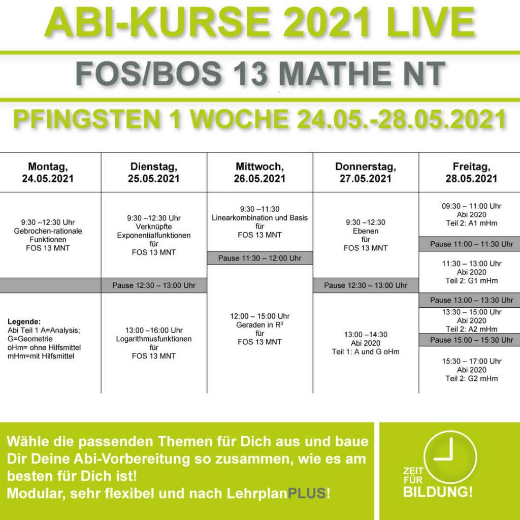 Stundenplan FOS LIVE-KURSE 13 Klasse Mathematik Nichttechnik