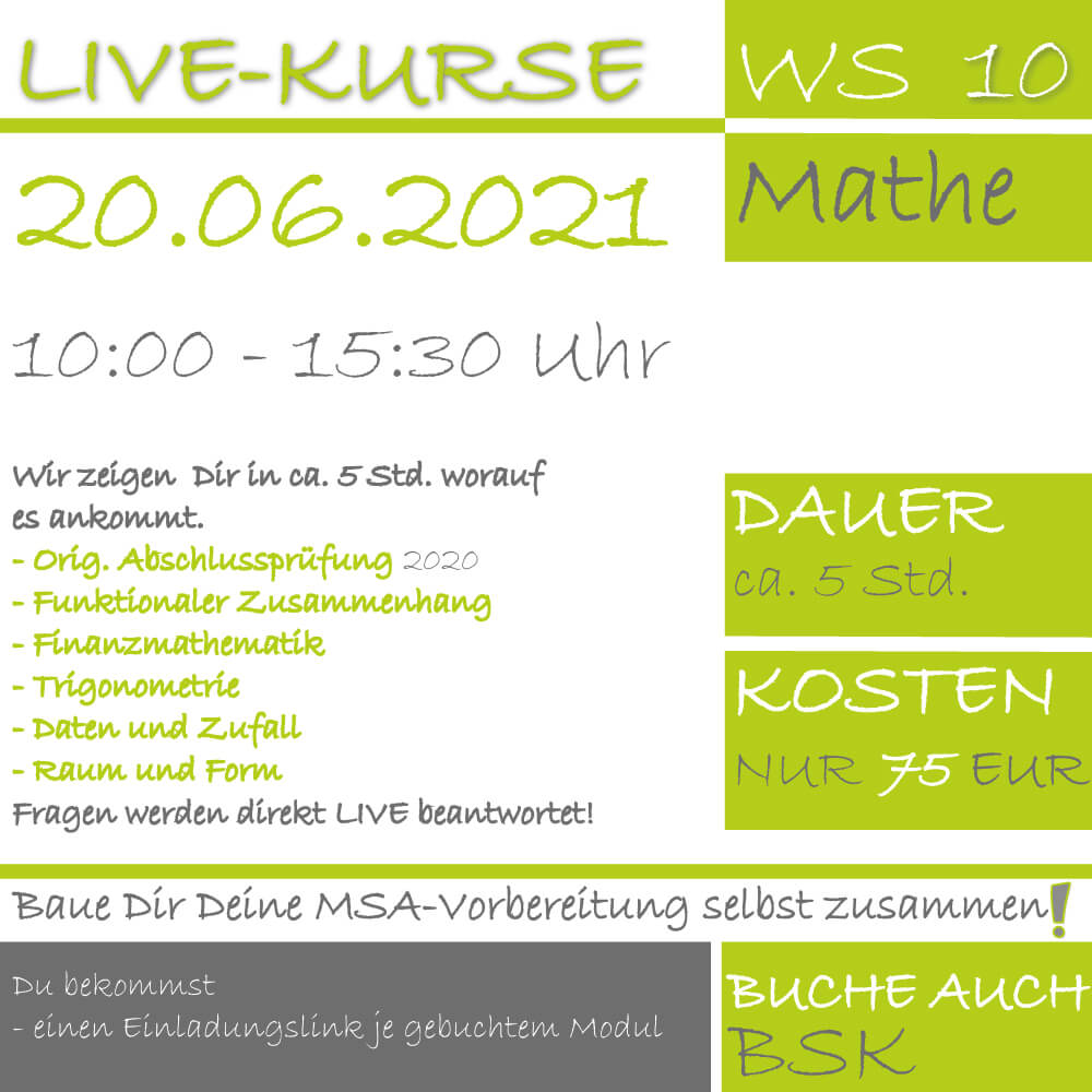 LIVE-KURS Wirtschaftsschule Mathematik 2020 Prüfungsvorbereitung lern.de